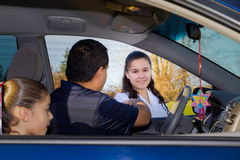 Father Sends Daughter Off To Martial Arts Practice Stock Images