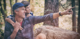 Father showing something to curious boy. While hiking in forest royalty free stock photos