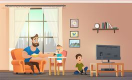 Father Sitting at Home With Childrens Vector stock illustration