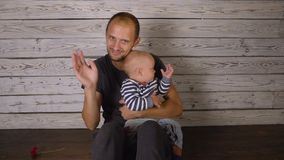 Father with a small son stock footage