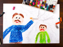 Father smoking a cigarette and sad child. Colorful drawing: father smoking a cigarette and sad child Royalty Free Stock Photo