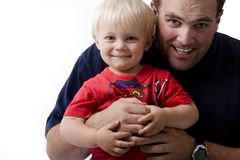 Father and Son. Photo of a father and son on white background stock images