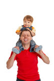 Father and son. Playing on white background Stock Photo