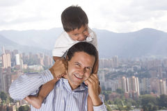 Father and son. Portrait of family, father and son enjoying at home Royalty Free Stock Image