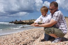 Father and son. Throwing shells into the sea stock image