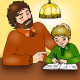 Father and son. Illustration is a father who helps his son in the carrying out tasks Stock Images
