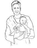 Father and Son. A sketch of a father holding his son Stock Image