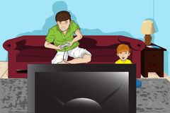 Father and son. A  illustration of a father and his son playing video games Stock Image