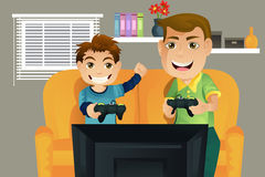 Father and son. A  illustration of a father and his son playing video games in the living room Stock Photography