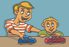 Father and son. Illustration of a father and his son happily playing toy cars Stock Photography