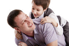 Father and son. On a white background Royalty Free Stock Photography