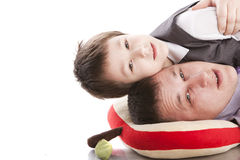 Father and son. On a white background Royalty Free Stock Image