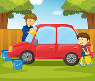 Father and son. Illustration of father and son washing a car Stock Image