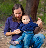 Father and son. Father and baby boy in nature Royalty Free Stock Images
