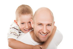 Father and son. Smiling father and little son - family happiness Royalty Free Stock Images