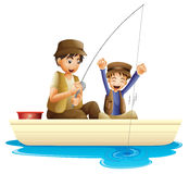 Father and son. Illustration of father and son fishing on a white background Royalty Free Stock Photo