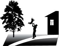 Father and son. Illustration with father and son near tree and house vector illustration
