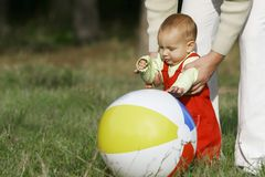 Father and son. Playing with a ball Stock Image