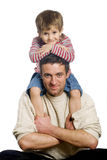 Father and son. Little boy with his father on the white background Stock Photo