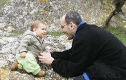 Father and son. Outdoor portrait Royalty Free Stock Image