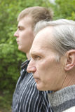 Father and son. In the park. Spring 2008 Royalty Free Stock Photo