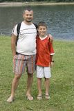 Father and son. By the lake Stock Image