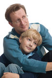 Father and son. The happy father embraces the son Royalty Free Stock Images