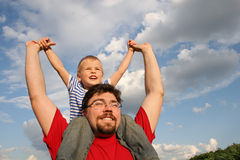 Father with son. On shoulders Royalty Free Stock Photography
