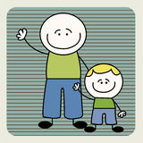 Father and son. Abstract father and son on special blue lines background vector illustration