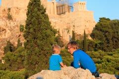 Father and son in Acropolis, Greece Stock Photos