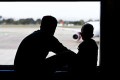 Father and son at the airport Stock Photos