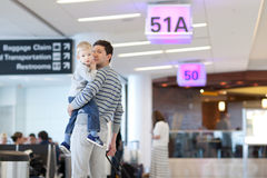 Father and son at the airport Stock Images