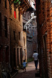 Father and son in the alley Royalty Free Stock Photography