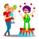 Father And Son In Amusement Park Vector. Clown. Isolated Illustration. Father And Son In Amusement Park Vector. Clown. Illustration royalty free illustration