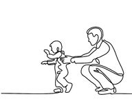 Father and son baby beginning to walk. Continuous line drawing. Vector silhouette Stock Photo