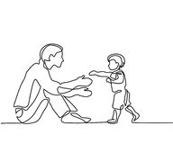 Father and son baby beginning to walk. Continuous line drawing. Vector silhouette Royalty Free Stock Photography