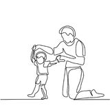 Father and son baby beginning to walk. Continuous line drawing. Vector silhouette Royalty Free Stock Images