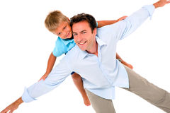 Father with son on back Stock Photo