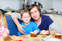 Father and son baking Royalty Free Stock Image