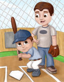 Father and son baseball. This is an illustration of a dad teaching his son how to play baseball Stock Photo