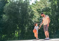 Father and son outdoors royalty free stock photo