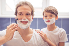 Father and son in bathroom Royalty Free Stock Photography
