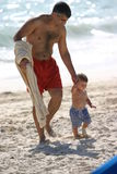 Father and Son at Beach Stock Photo
