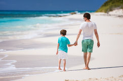 Father and son at beach Stock Image