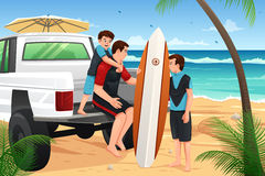 Father son on beach vacation vector illustration