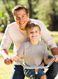 Father son bicycle Stock Photos