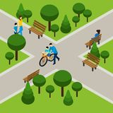 Father With Son. Father and son on bicycle in park isometric vector illustration Royalty Free Stock Photos