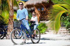 Father and son on bike Stock Photography