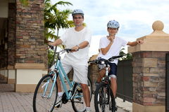 Father and son  on  the bikes Royalty Free Stock Photo