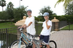 Father and son  on  the bikes Royalty Free Stock Image